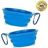 Nom Nom Puppy Collapsible Travel Dog Bowl (12 Oz) with Free Bonus Carabiner Belt Clip - 100% Satisfaction Guaranteed (2-Pack (Blue))