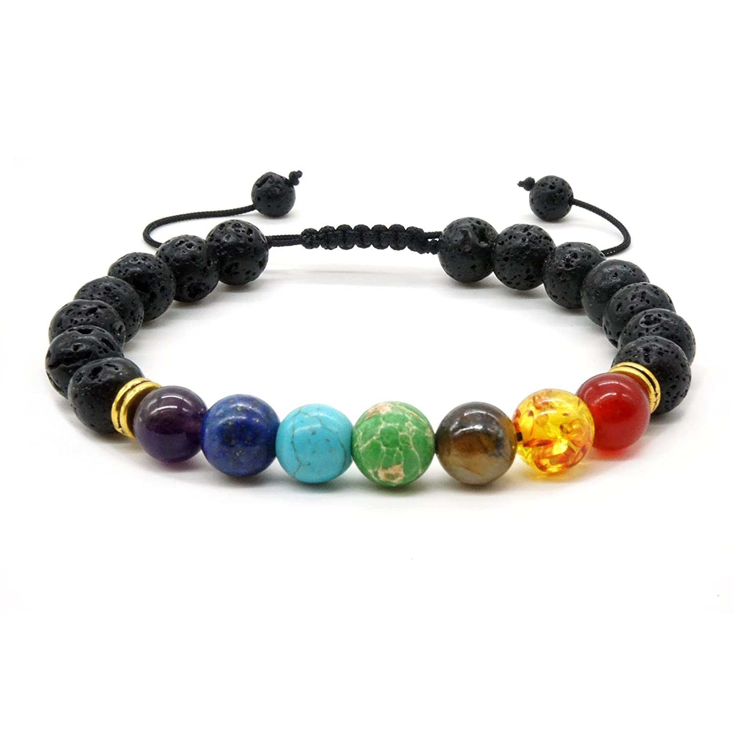 Mayting 7 Chakra Lava Stone Braided Bracelet Tiger Eye Stone Bracelet for Men and Women Healing Energy Adjustable Bracelet Bangle BKL002