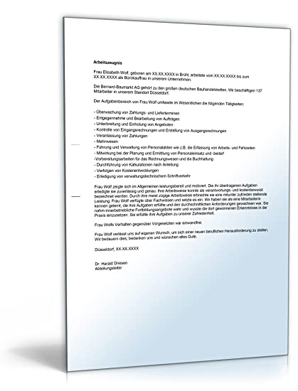 Arbeitszeugnis Bürokauffrau Note Vier Word Dokument Amazonde