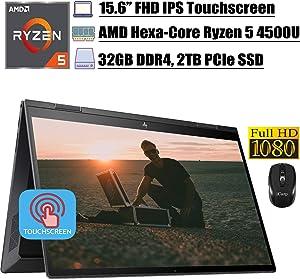 2020 Newest HP Envy X360 Business 2 in 1 Laptop, 15.6 inch FHD IPS Touchscreen, AMD Hexa-Core Ryzen 5 4500U (Beats i7-8550U), 32GB DDR4 2TB PCIe SSD, Backlit AlexaFP Win 10 + iCarp Wireless Mouse