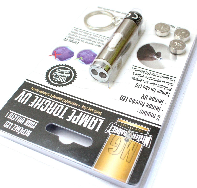 lampe torche UV LED blanches porte cl/é piles incluses 7cm rep/érez faux billet