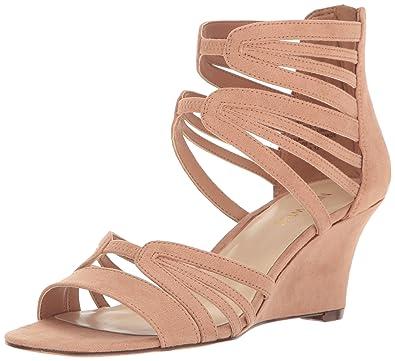 Nine West Women's Raleigh Suede Wedge Sandal, Natural, ...