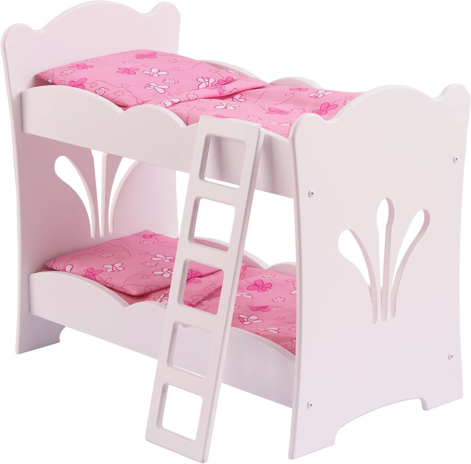 Amazon Com Kidkraft Wooden Lil Doll Bunk Bed With Bedding Set Furniture For 18 Dolls White 20 75 L X 11 57 W X 17 52 H Toys Games