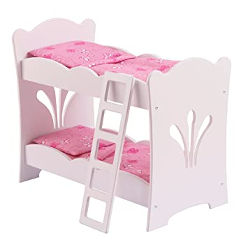 Kidkraft 60130 Lil Doll Bunk Bed White Wooden Bunk Bed With Pink