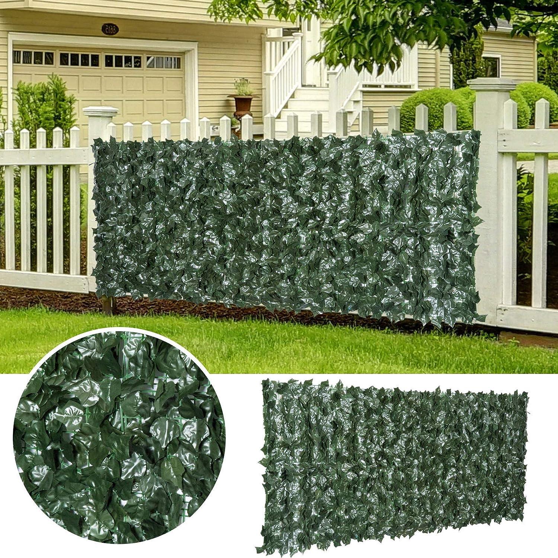 BPIL - Pantalla de Pared para Valla de Hiedra Artificial, decoración de Hojas y Vid para decoración al Aire Libre, Color Verde, 1 x 3 m: Amazon.es: Jardín