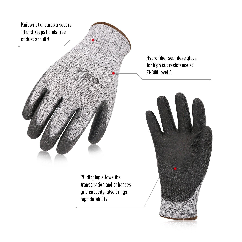 Vgo 2 Paires de Gants r/ésistant aux coupures Protection de Niveau 5 de Haute Performance Gants de Protection des Mains certifi/és EN388 Taille 9//XL,Gris,SK2131