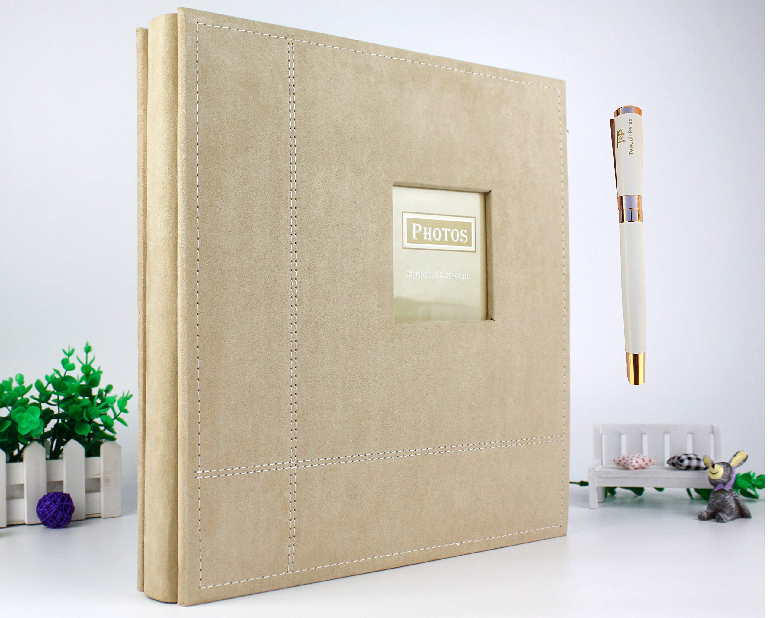 Towdah Perez Deluxe Large Magnetic Page Photo Album. 80 Pages, 3x5, 4x6, 5x7, 8x10 Photos with Gift Box, Luxury White/Gold Pen. Fabric Cover Wedding Family Album (Beige, Fabric) by Towdah Perez
