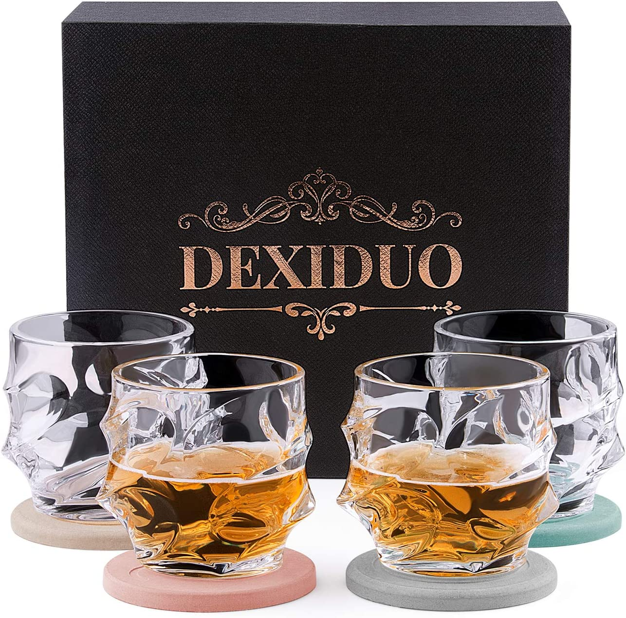 DEXIDUO Crystal Whiskey Glasses with Luxury Box and 4 Drink Coasters, Whiskey Decanter Set for Bourbon, Scotch Whisky, Cocktails, Cognac - Old Fashioned Cocktail Tumblers (Style B)
