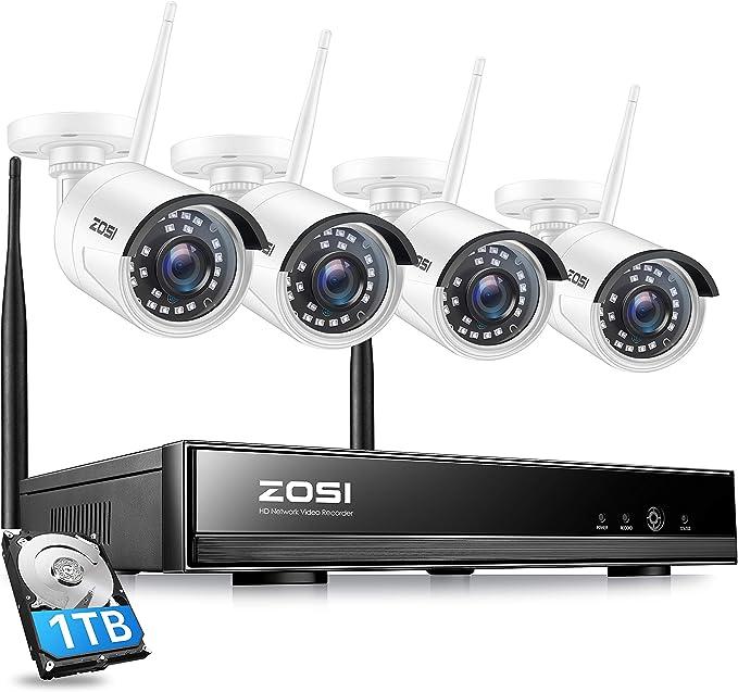 ZOSI 8CH 1080P HD WLAN Überwachungskamera Set NVR 4x Außen IP Kamera 1TB HDD