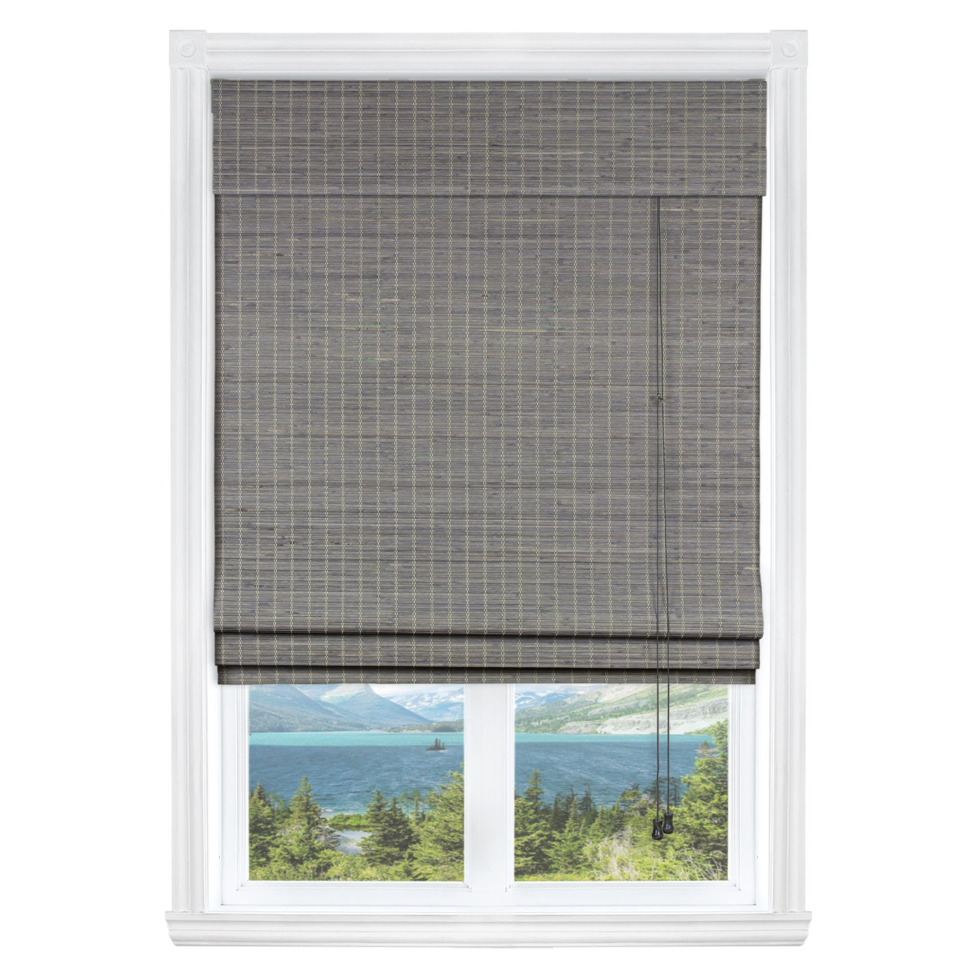 Calyx Interiors Privacy Grey Wash Bamboo, 28'' W X 54'' H