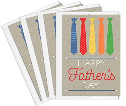Amazon tiny expressions happy fathers day greeting cards with tiny expressions happy fathers day greeting cards with envelopes multipack colorful ties 4 pack m4hsunfo