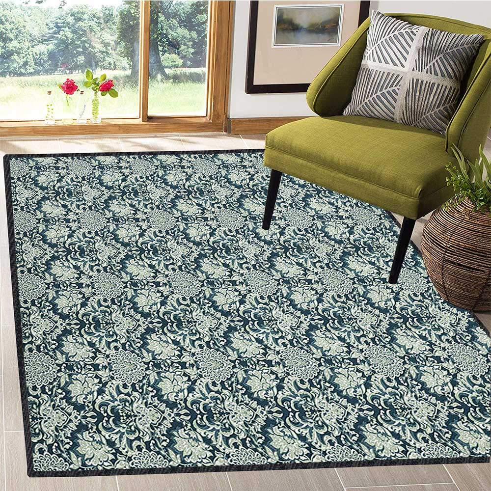 Vintage Decor Area Rug,Victorian Baroque Foliage Leaves Pattern with Ornamental Swirls Suitable for Bedroom Home Decor Dark Blue Pale Sage Green 67''x79'' by Philip C. Williams