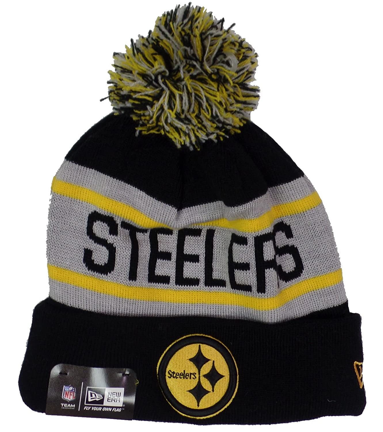 a9f9c1446 Amazon.com   New Era Men s Biggest Fan Redux Pittsburgh Steelers Black Team  Black Hat One Size Fits All   Sports   Outdoors