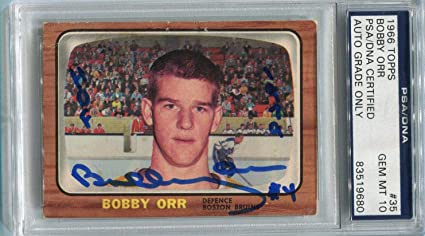 Bobby Orr Signed 1966 Topps Rookie Card 35 Rc Graded Mint