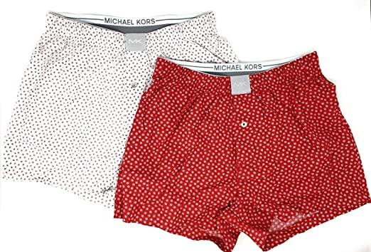 e40cbee59f5 Michael Kors Mens 2-Pack Woven Boxer Shorts (White/Red, Small) at Amazon  Men's Clothing store:
