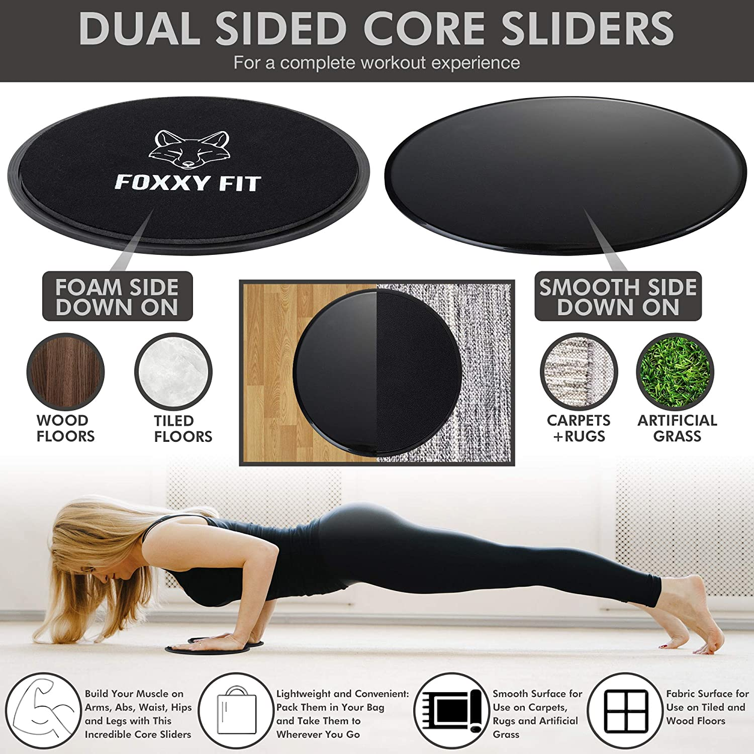 FOXXY FIT Pilates Ring - Magic Circle for Pilates, Yoga and Floor Exercises with Dual-Grip Handles –Premium Pilates Circle for Thighs, Core and Arms – Core Sliders, Workout Guide and Free Bonus : Sports & Outdoors