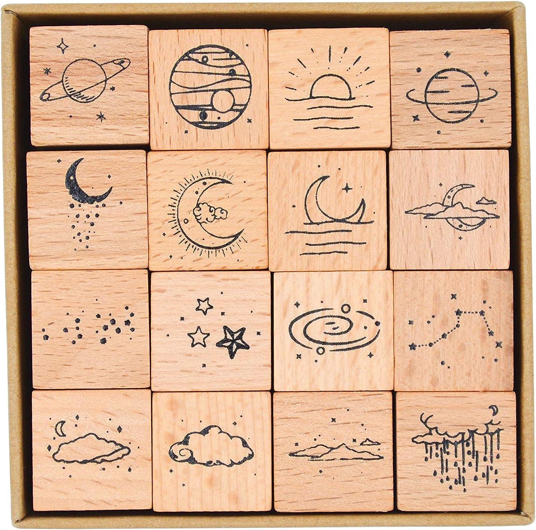 Cliocoo 16pcs Moon&Star Wood Rubber Stamp Set M-26