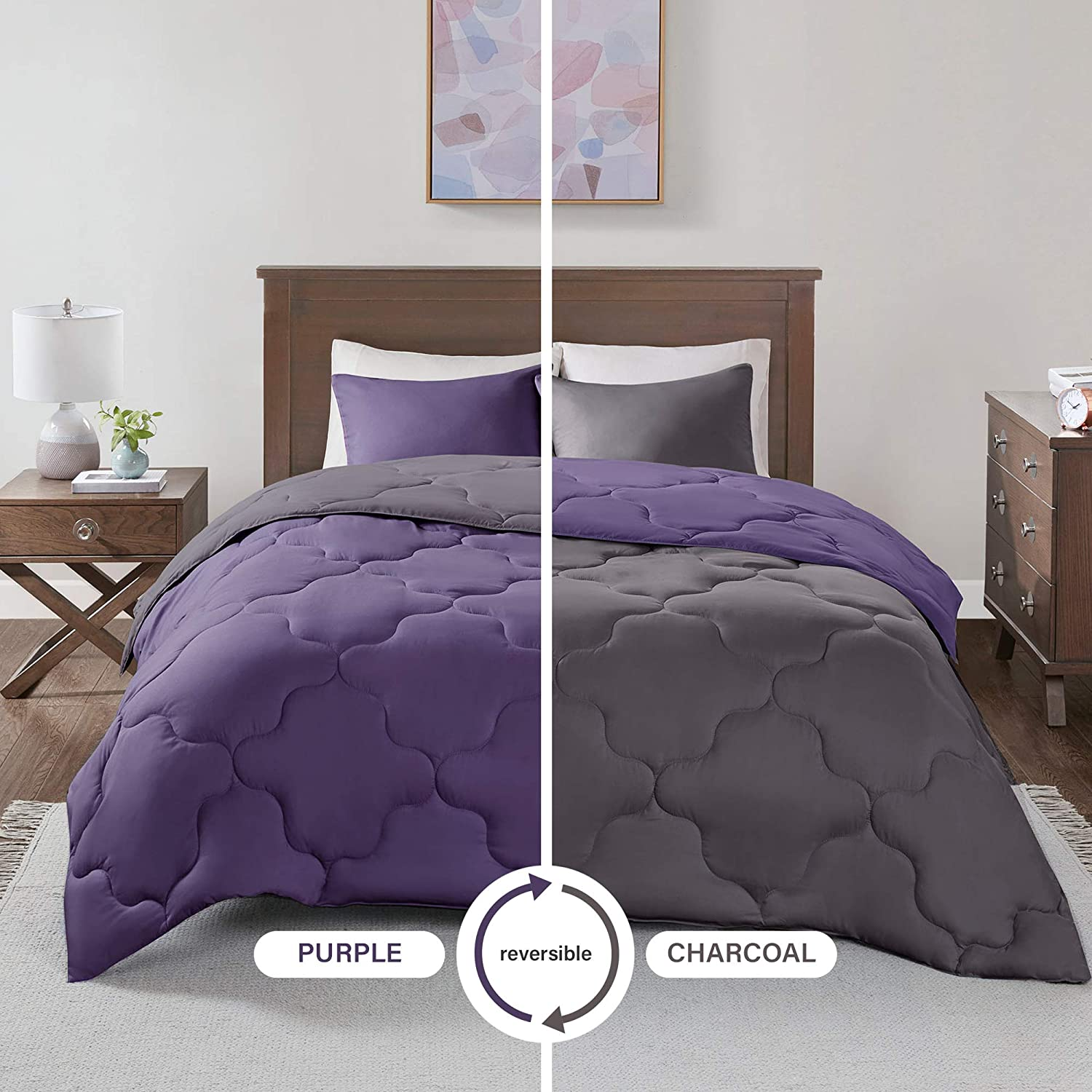 Comfort Spaces Vixie 3 Piece Comforter Set All Season Reversible Goose Down Alternative Stitched Geometrical Pattern Bedding, Full/Queen, Purple/Charcoal