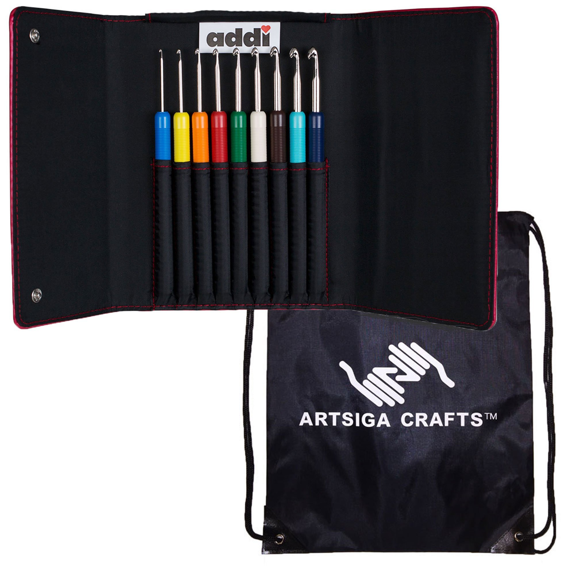 addi Knitting Needles Crochet Hook Colours Set Bundle with 1 Artsiga Crafts Project Bag