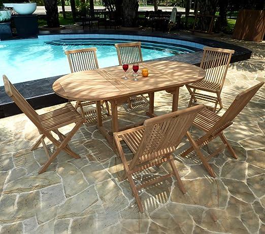 Salón de jardín de Teca en Bruto para 6 Personas Mesa en Teca 120 – 180 cm + 6 sillas Plegables: Amazon.es: Jardín