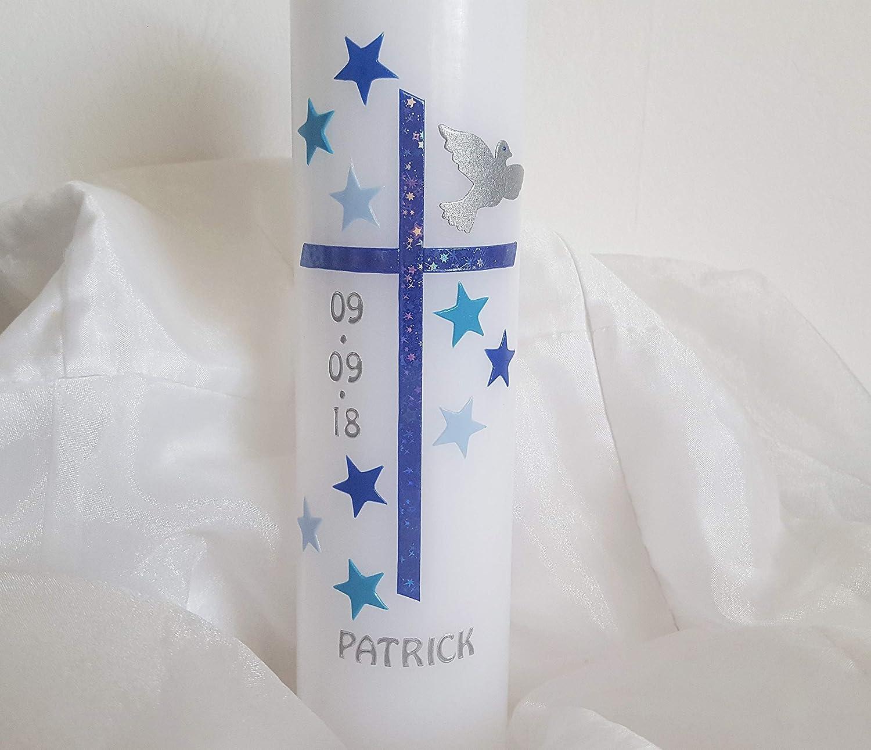 Taufkerze Sterne fü r Jungen/blau / Taube / 250x60mm / Beschriftung inklusive/Handmade / holographisches Kreuz glitzert je nach Lichteinfall