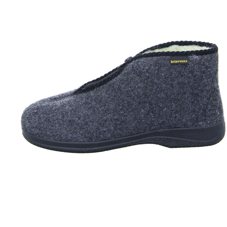 forro de lana y fieltro color antracita para hombre Zapatillas de estar por casa Intermax con cremallera