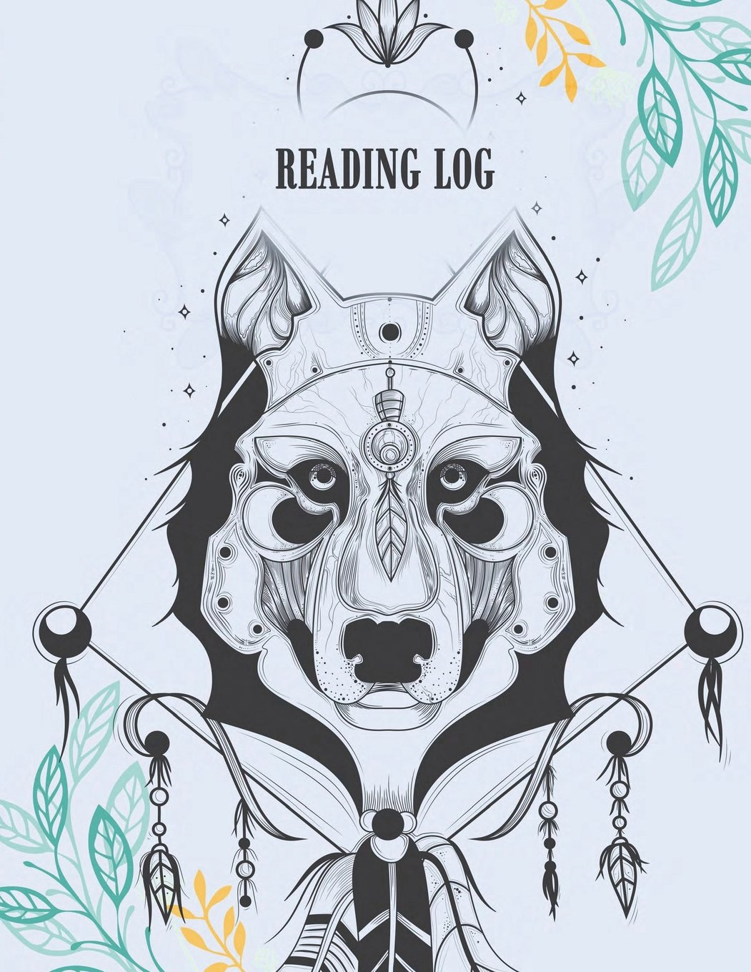 """Reading log: Beautiful Dog Design, Book Reading Planner, Reading Log Book, Portable Book Reading Report, Summer Reading Journal 120 pages 8.5x11"""" PDF"""