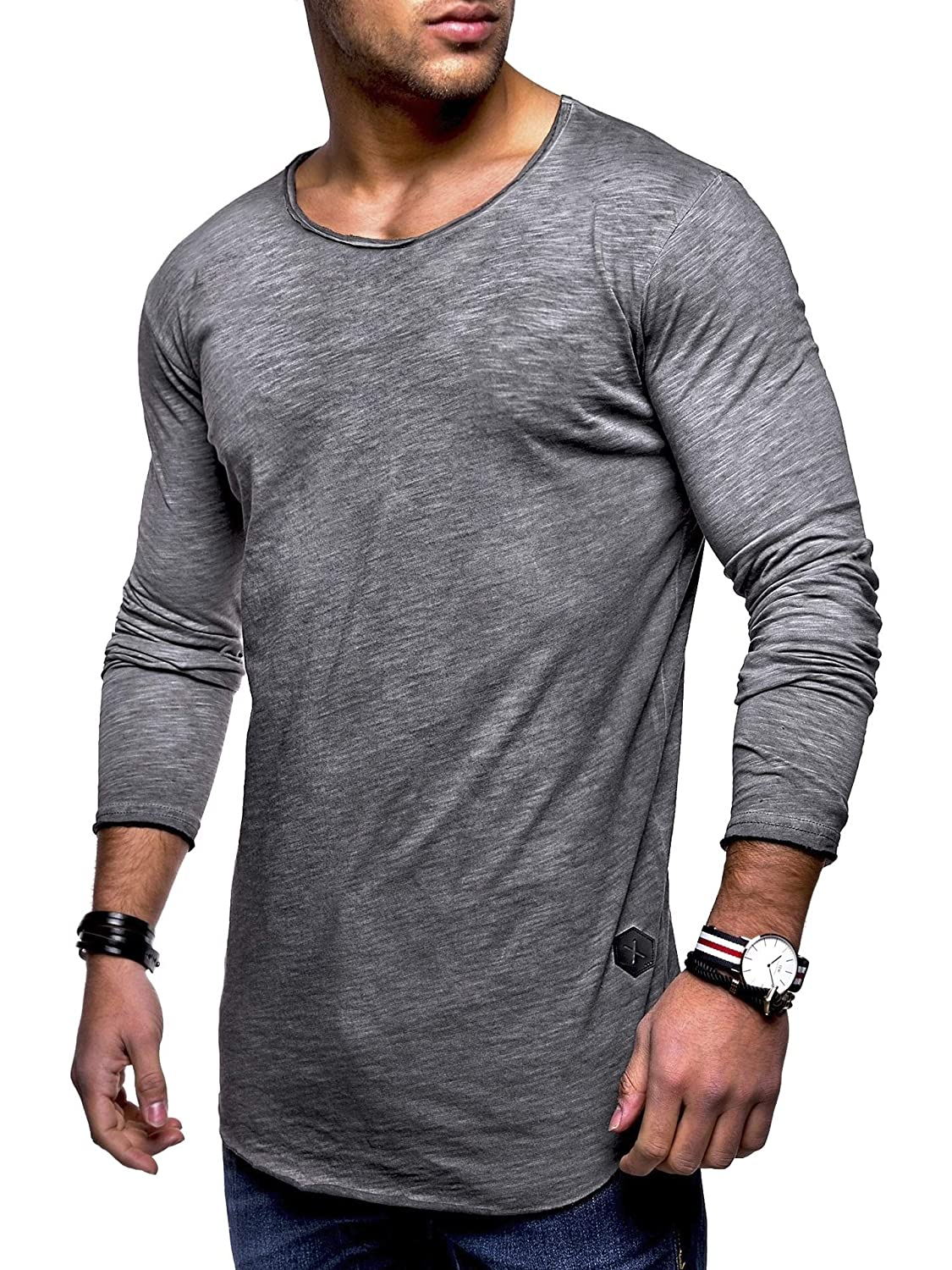 Vska Men Crew-Neck Long Sleeve Fashional Relaxed-Fit Solid Top Tee