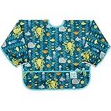 Bumkins Sleeved Bib/Baby Bib/Toddler Bib/Smock 6-24 Months, Waterproof, Washable, Stain and Odor Resistant - Sea Friends