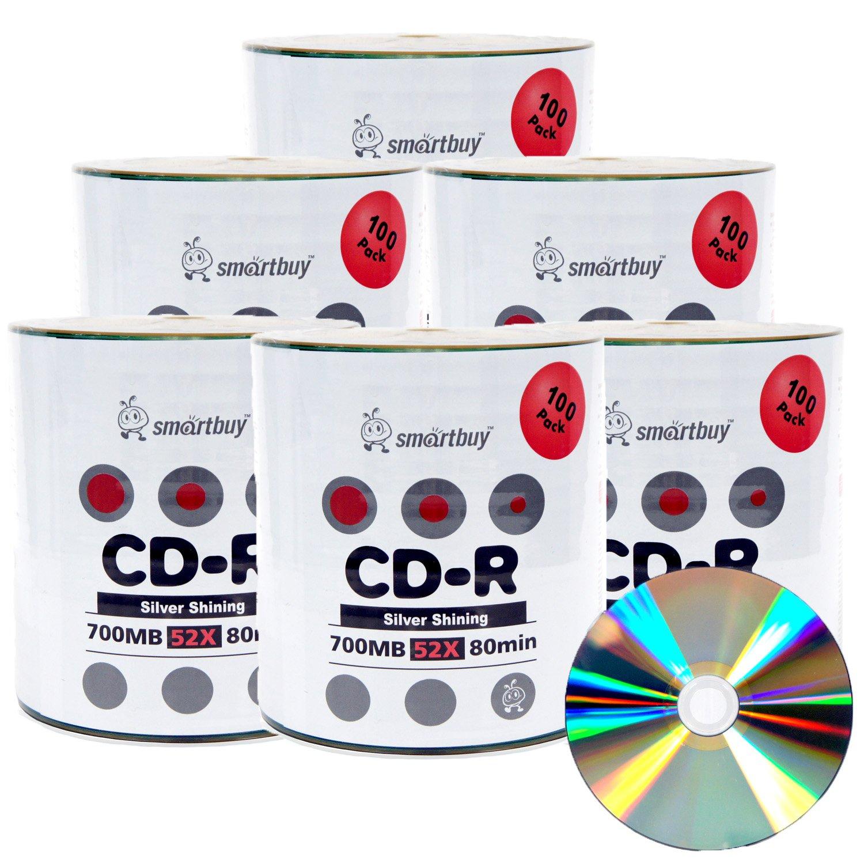 Smartbuy 600-disc 700mb/80min 52x CD-R Shiny Silver Top Blank Recordable Media Disc