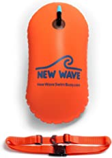 New Wave Swim Bubble for Open Water Swimmers and Triathletes - Be Bright, Be Seen & Be Safer with New Wave While Swimming Outdoors with This Safety Swim Buoy Tow Float (Fluo Orange)