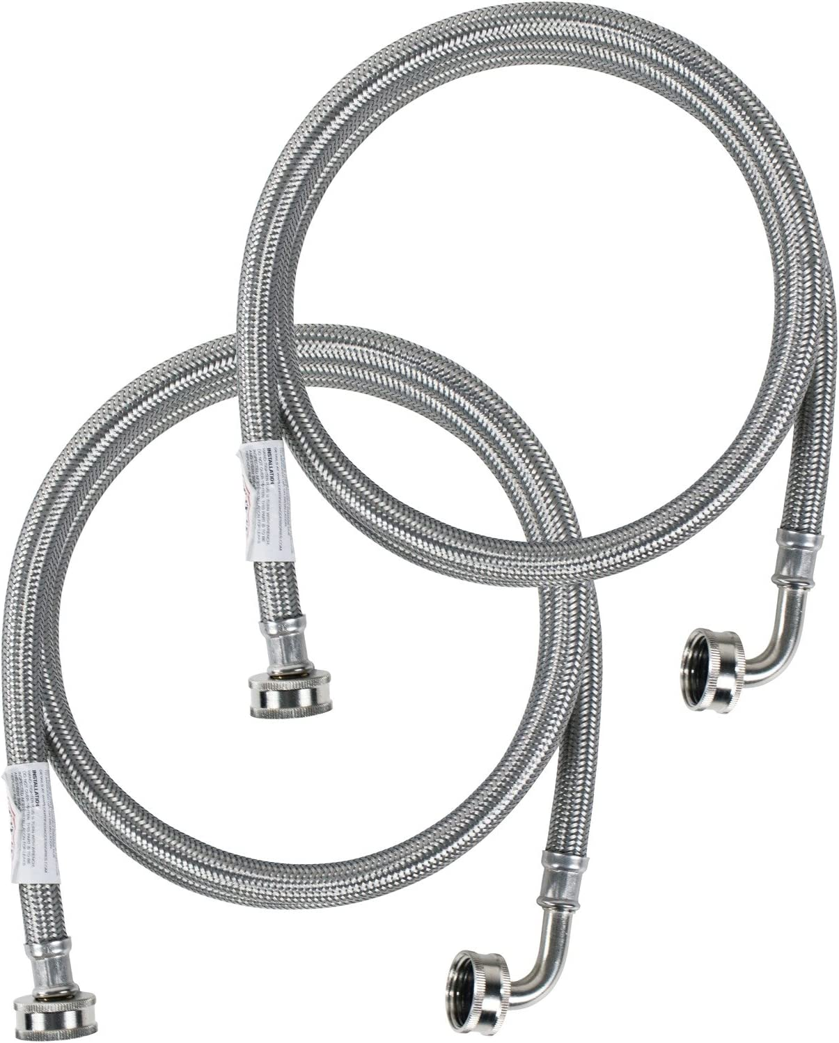 Certified Appliance Accessories Washing Machine Hose with 90 Degree Elbow (2 Pack), Hot and Cold Water Supply Lines, 4 Feet, PVC Core with Premium Braided Stainless Steel in Protective Clamshell Pkg.