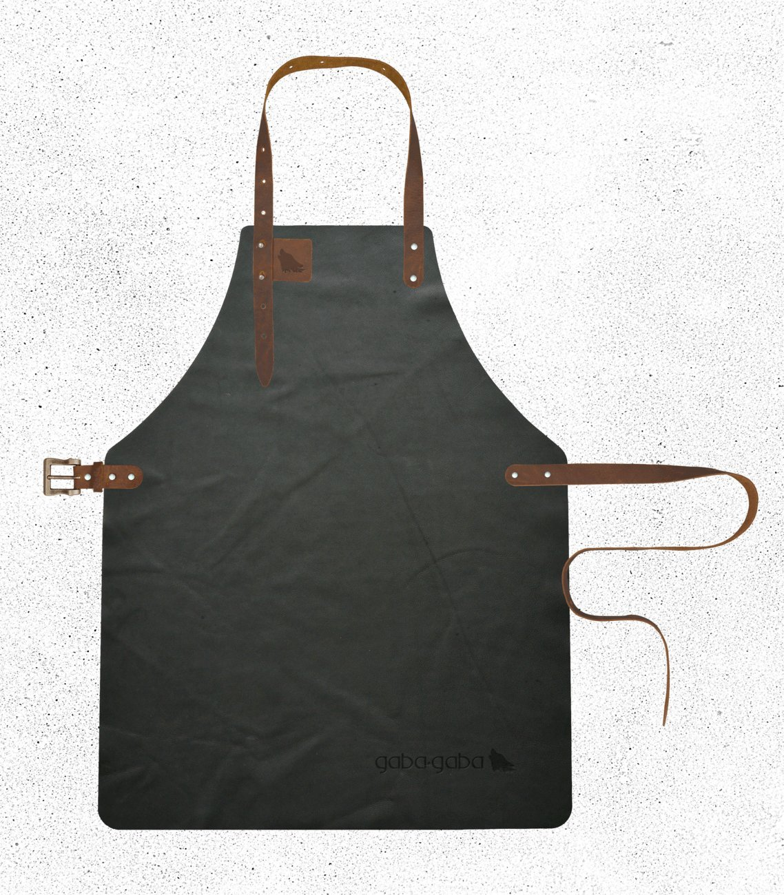 Gaba Gaba - Grillschürze / Lederschürze / Kellnerschürze aus Leder (geeignet für Barista, Gastronomie & Grillen) - Gorilla - Buffalo (Schwarzbraun) - XL - 62,5 x 90cm