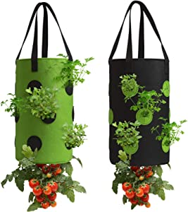 2 Pack Black and Green Upside Down Tomato & Herb Planter, Durable Aeration Fabric Strawberry Planter Bags