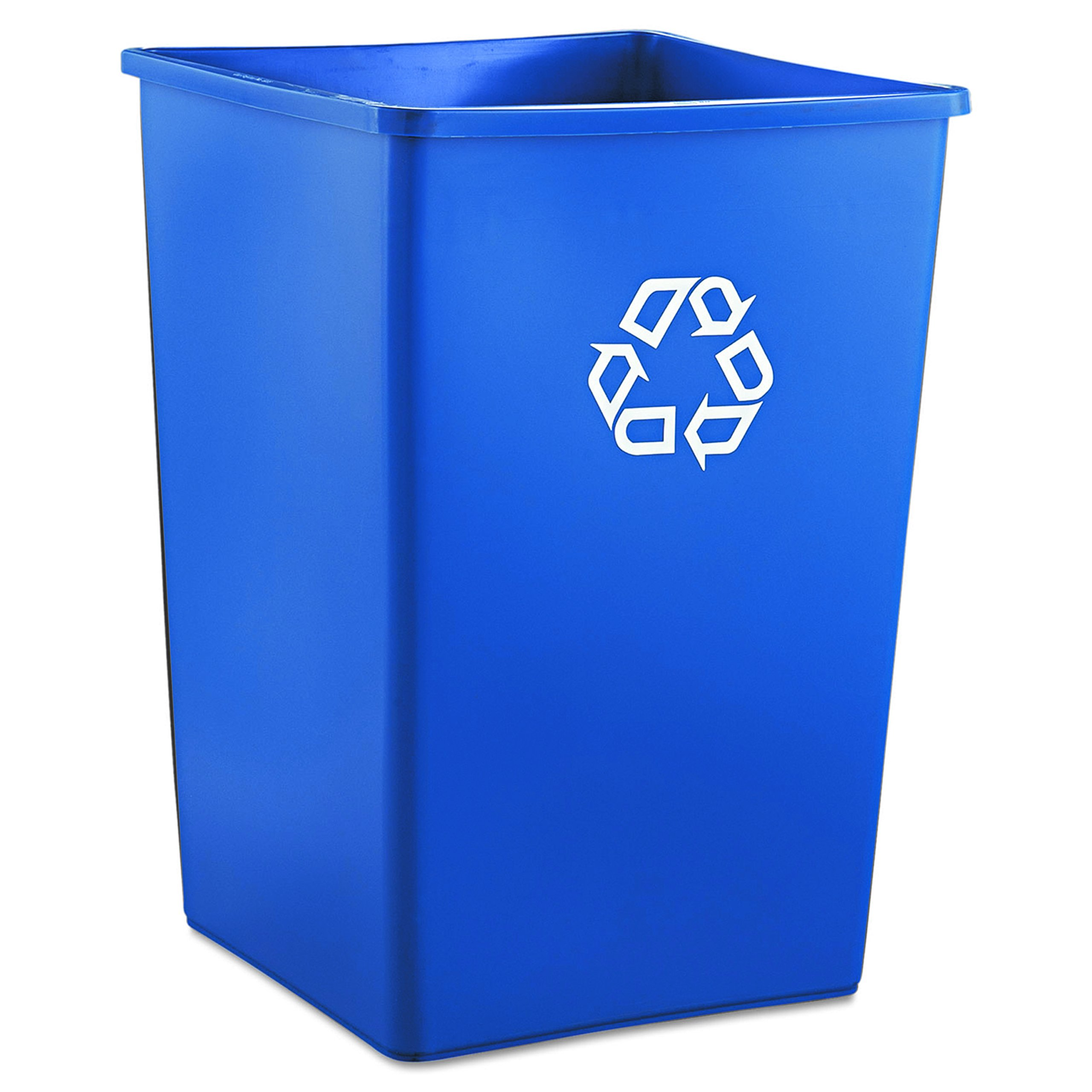 Rubbermaid Commercial RCP 3958-73 BLU Recycling Container, Square, Plastic, 35 gal, Blue