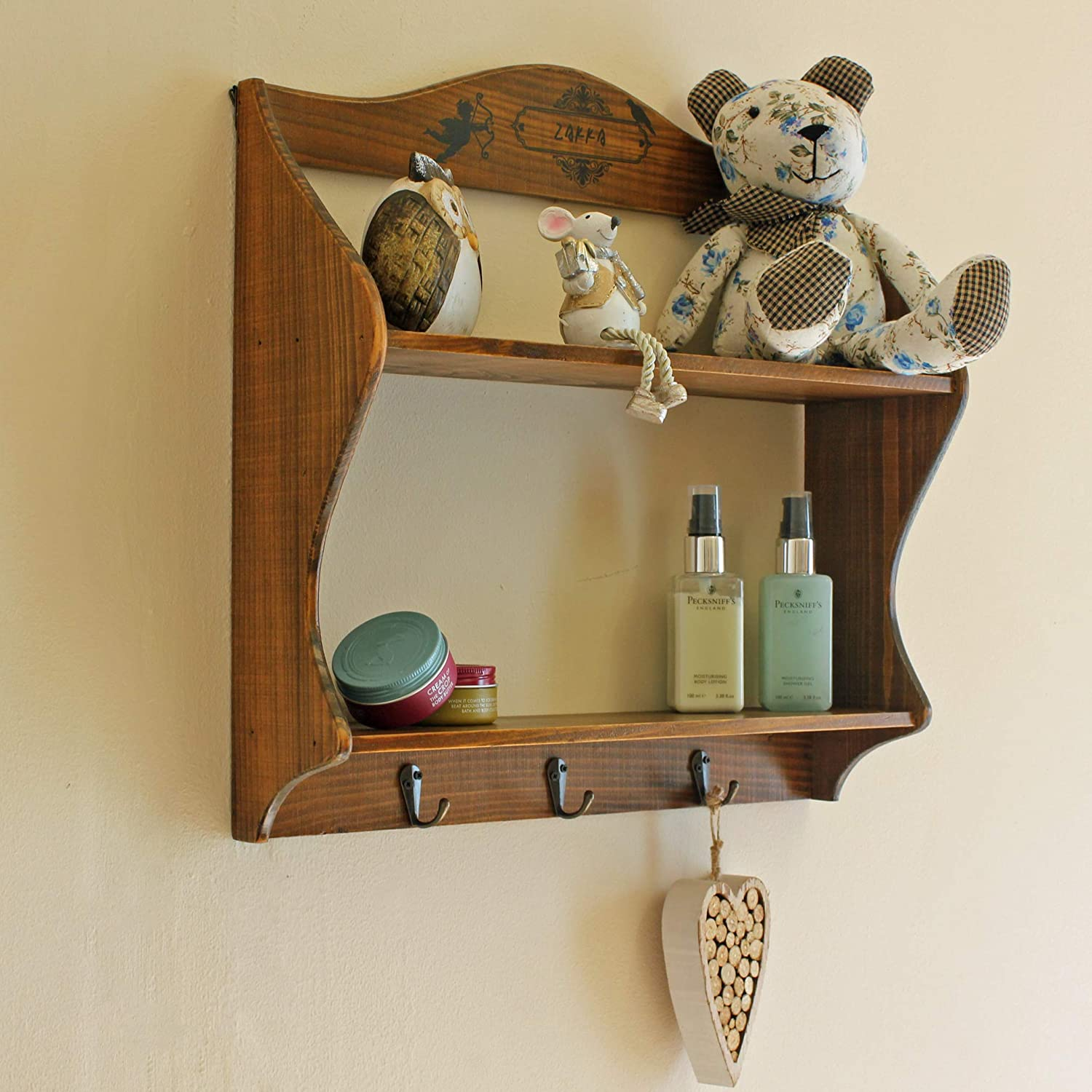 2 Tier Wall Shelf Hanging Hooks Wooden Decor Storage Shelves Hanger Rack Aged Rustic Finish (Dark Brown) Dark Brown