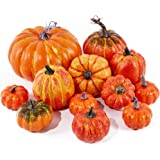 Mimacoo Assorted Artifical Pumpkins Big Pumpkins in Different Shapes and Sizes for Fall Harvest Festival, Thanksgiving or Hal