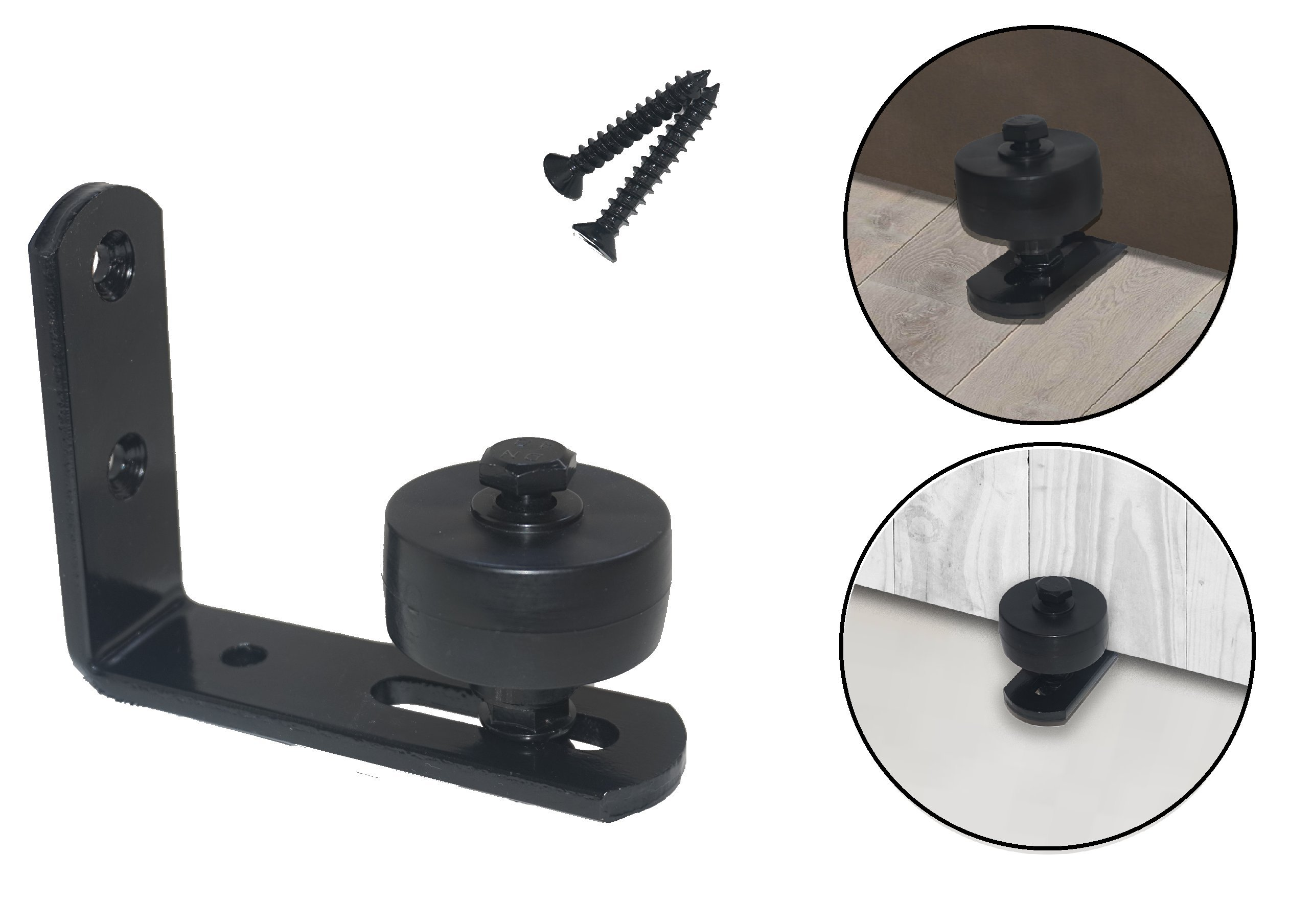 Barn Door Guide Stay Roller: Adjustable Bottom Wall Mount for Smooth and Quiet Sliding, with Full Installation ScrewsKit, Black and Discreet, Strong Steel, No Door Or Floor ScratchingAnd Damage