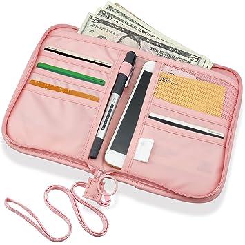 SPAHER Cartera para pasaporte Cartera de Viaje para Documentos Porta de Pasaporte Portadocumentos de Viaje Unisex Organizador de documento familiares para ...