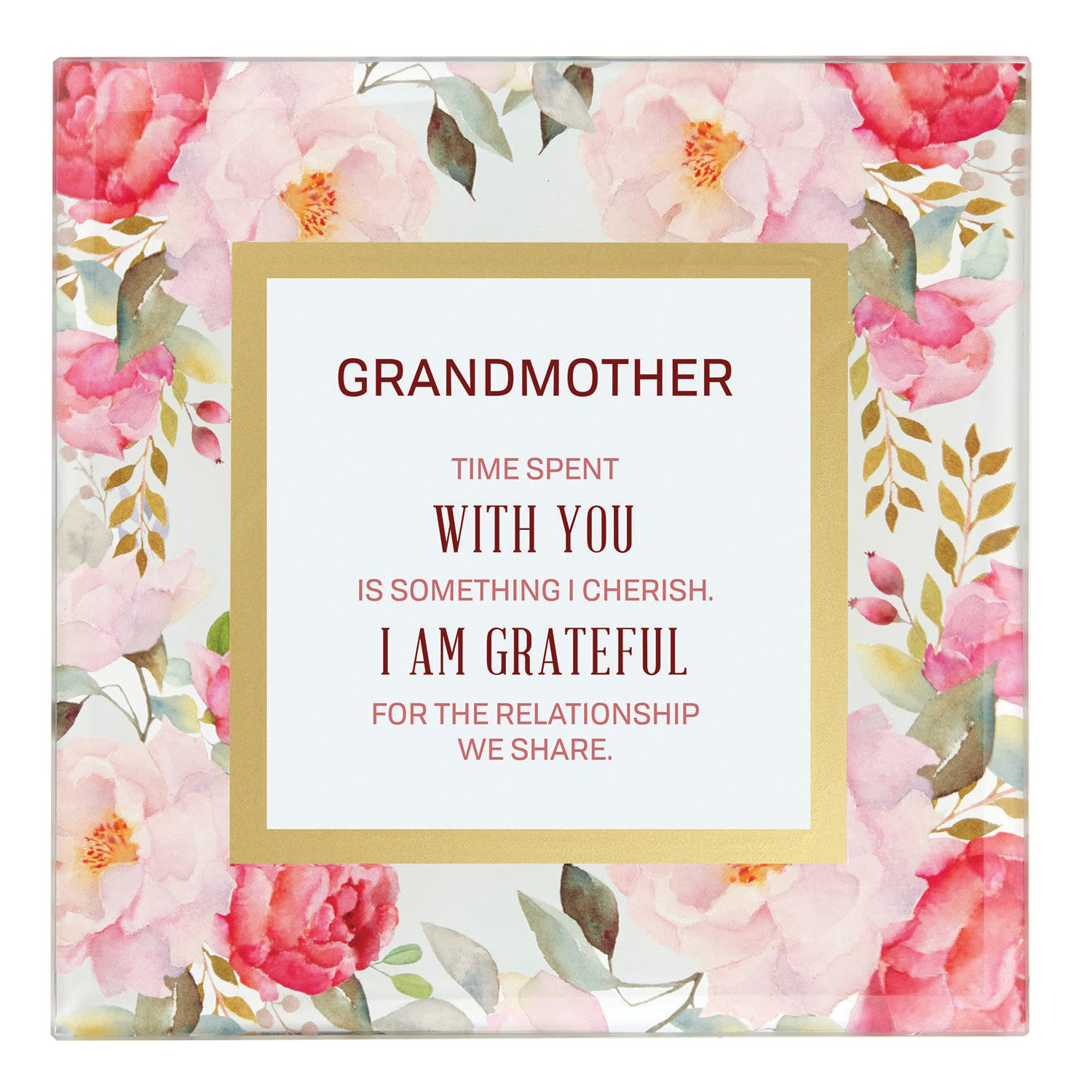 CB Gift Heartfelt Collection-LoveLea Essence Pink Floral Glass Framed Sentiment 7x7-Inches Like A Mother