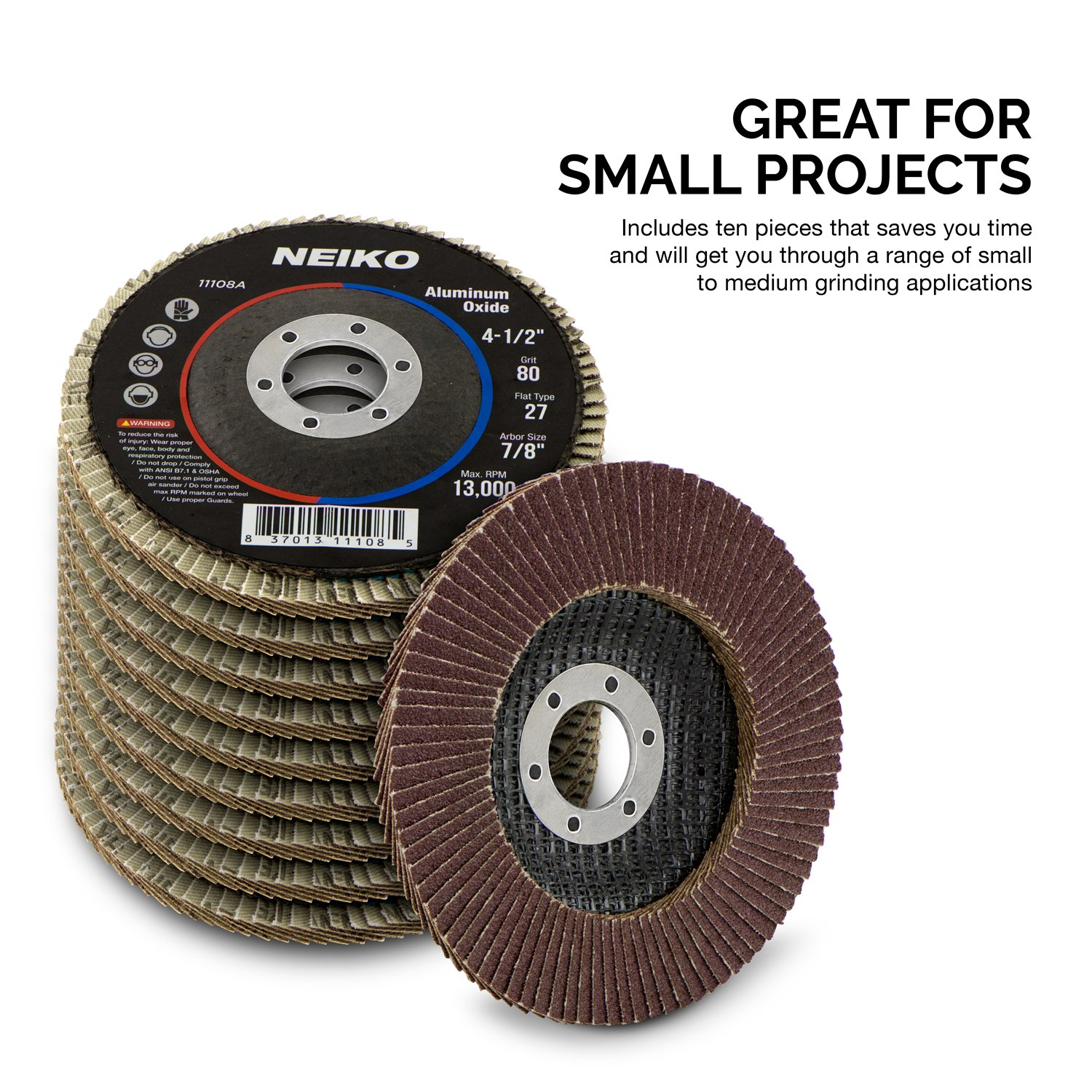 10 Pack 4-1/2'' Auto Body Sanding Flap Discs 80 Grit by Neiko (Image #4)