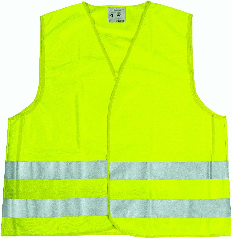 Amazon.es: Cartrend 50130 Chaleco reflectante de averías amarillo tamaño XL, DIN EN 20471 en práctica bolsa textil con cierre de cremallera