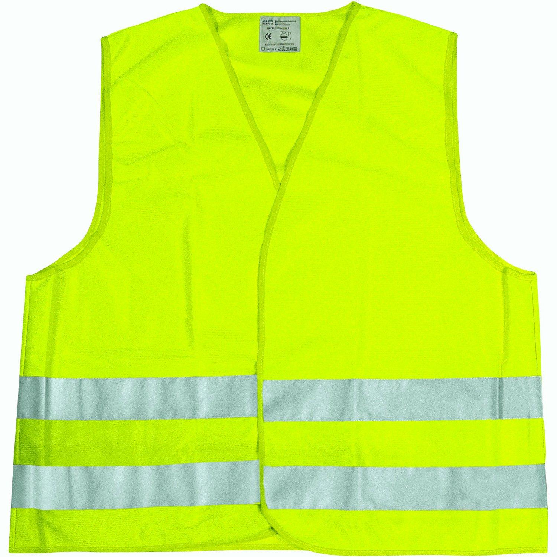 Cartrend 50130 Gilet ad alta visibilità , taglia L, DIN EN 20471 in pratica borsa di tessuto con chiusura lampo, giallo