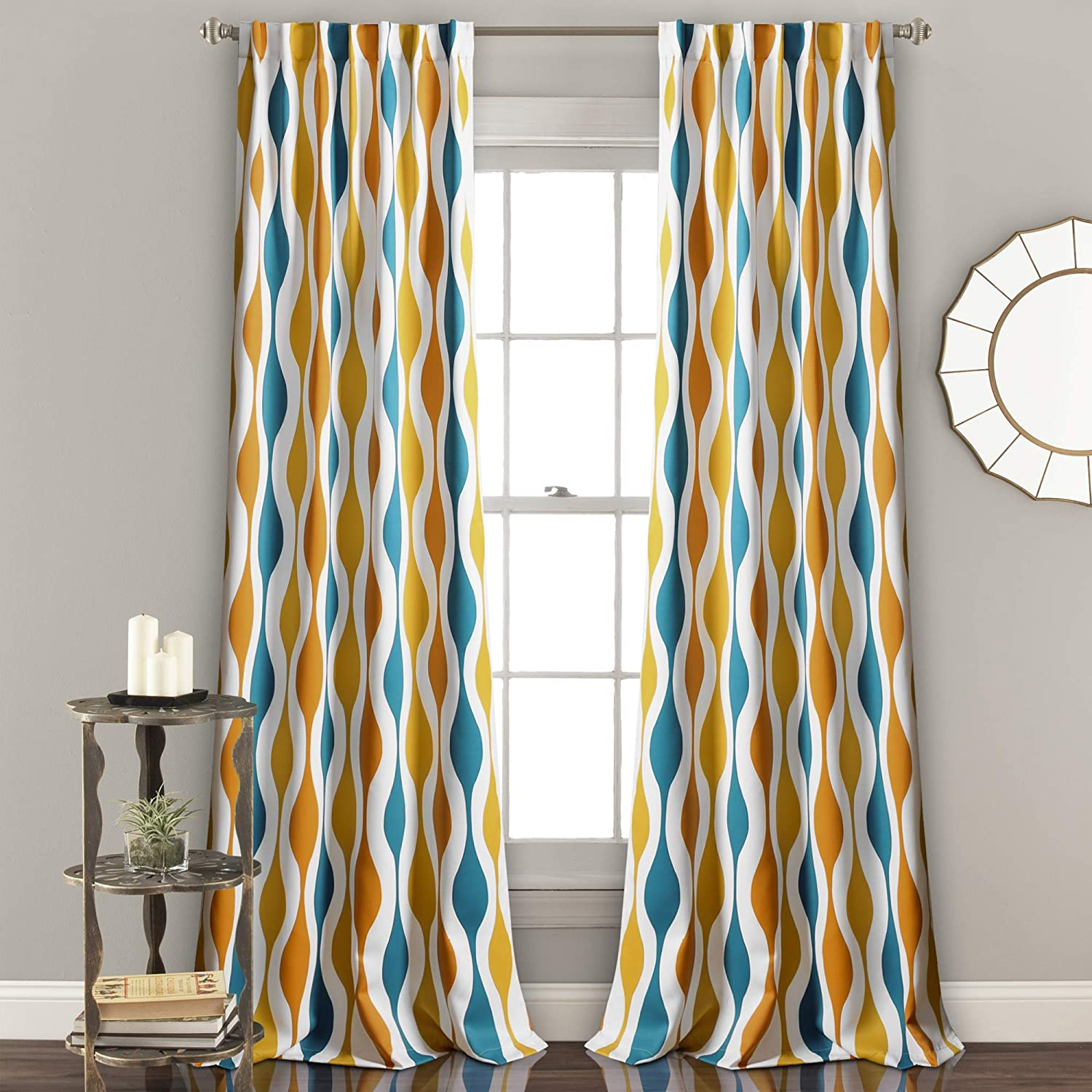 "Lush Decor Mid Century Geo Room Darkening Window Curtain Panel Pair, 84"" x 52"", Turquoise & Orange"