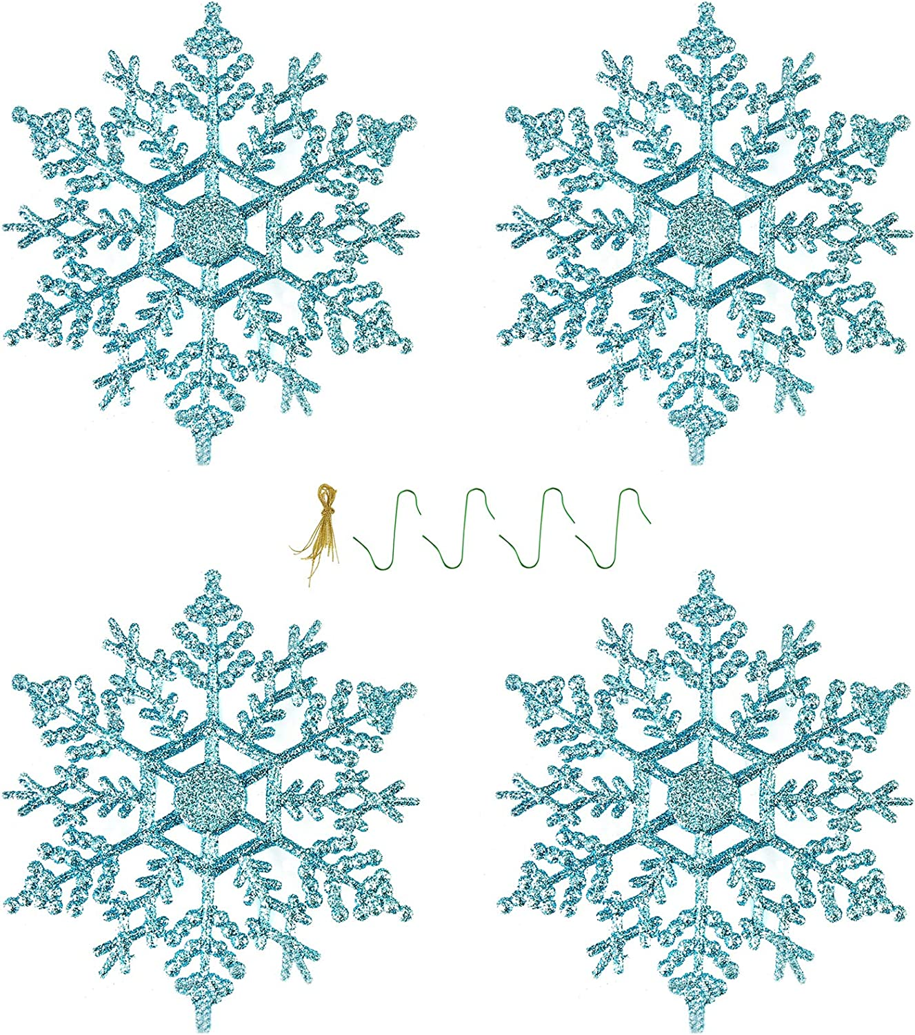 Plastic Glitter Snowflakes Ornaments for Christmas Tree New Year Party Decorations, 4 inches, 24 Pieces (Blue)