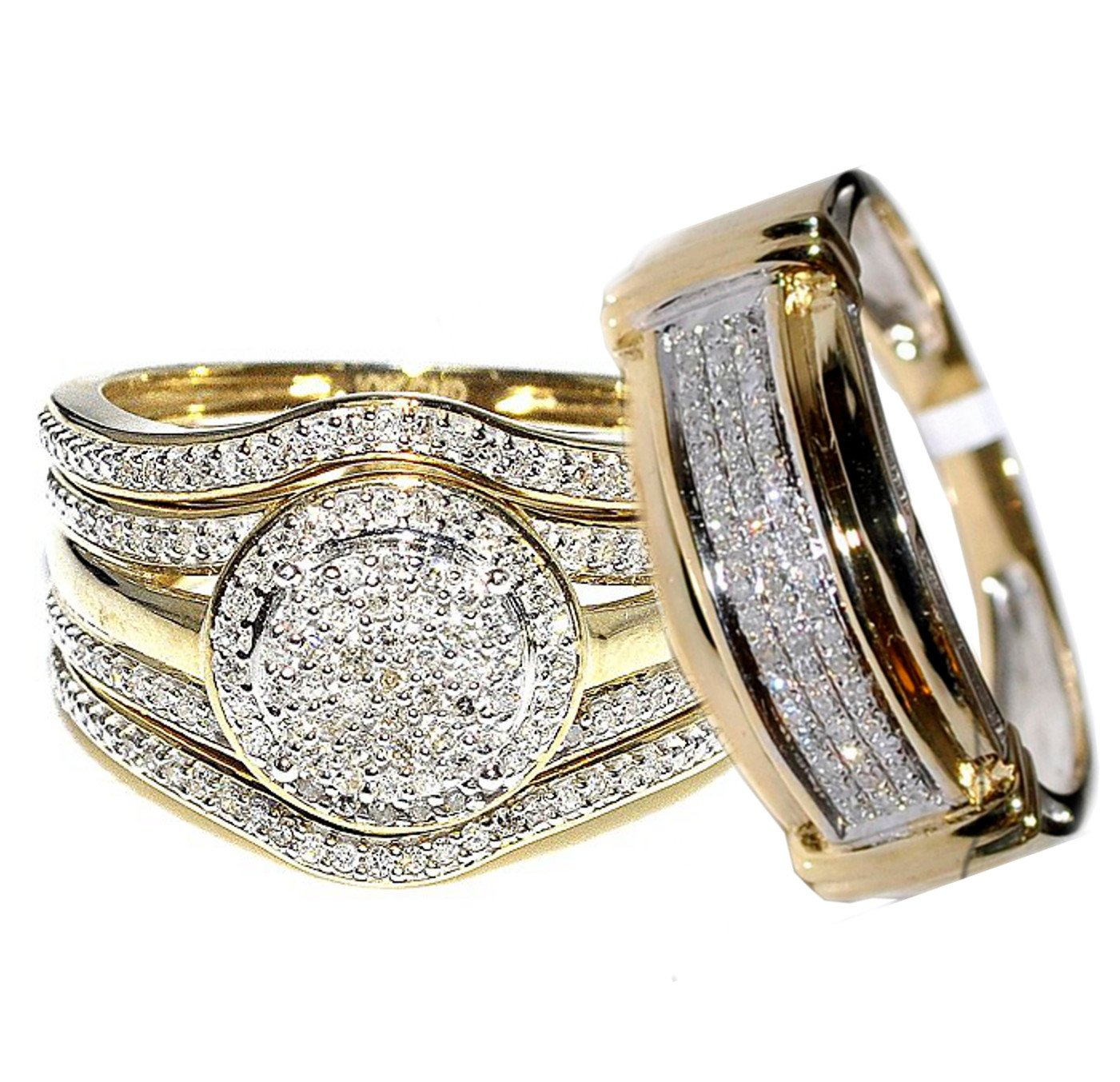 Rings-MidwestJewellery.com 4-Piece 10K Yellow Gold 0.66carats Diamonds 19mm Wide Halo Style His and Her Bridal Trio Rings Set (I-J Color, I2-I3 Clarity) by Midwest Jewellery