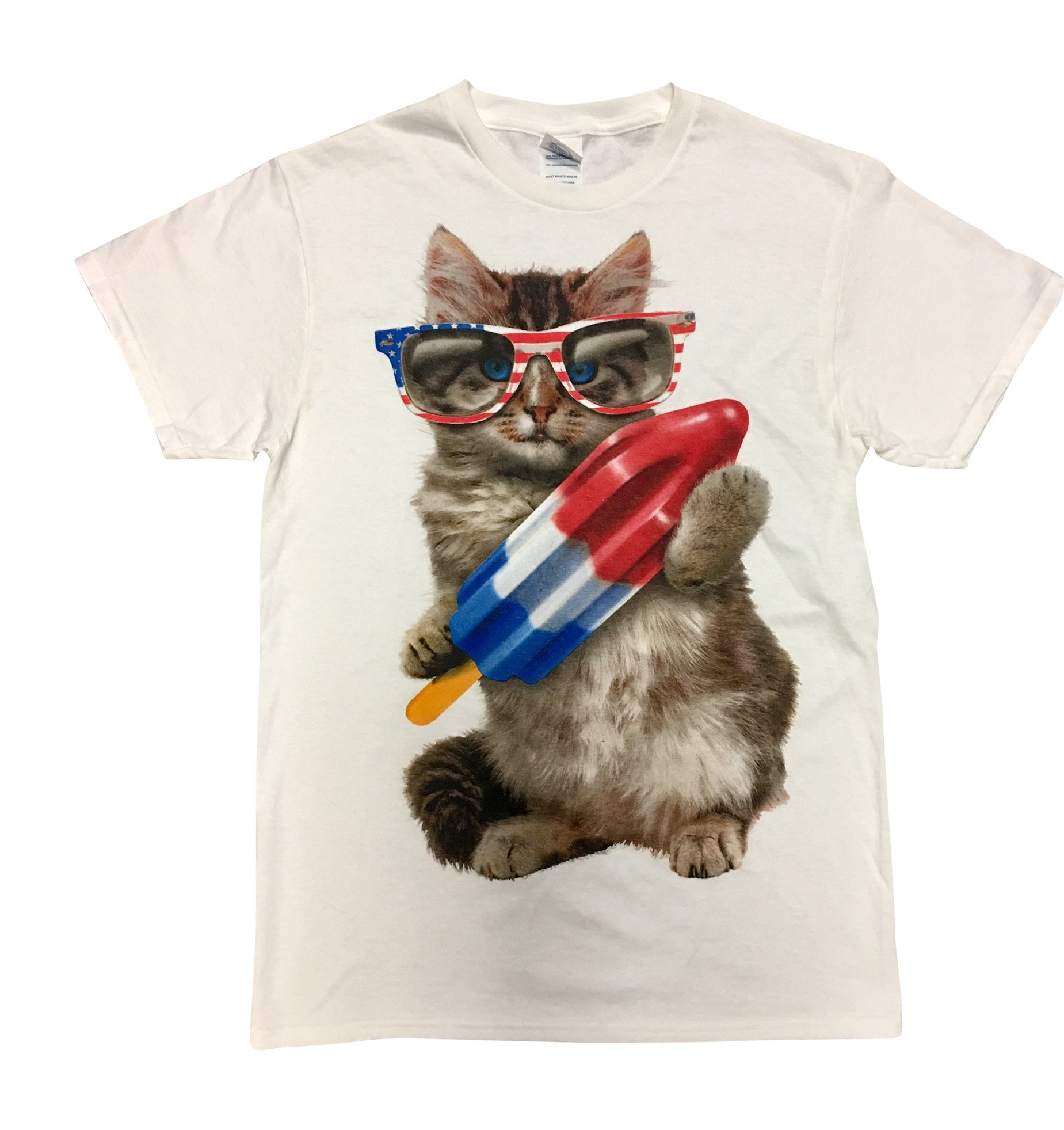Mens Fourth of July Patriotic Kitty with Sunglasses and Rocket Popsicle - Medium/38-40