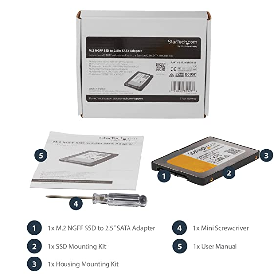 M.2 SSD to 2.5in SATA III Adapter with Protective Housing - M.2 Solid State Drive to 2.5in SATA Converter w/ 9.5mm Height