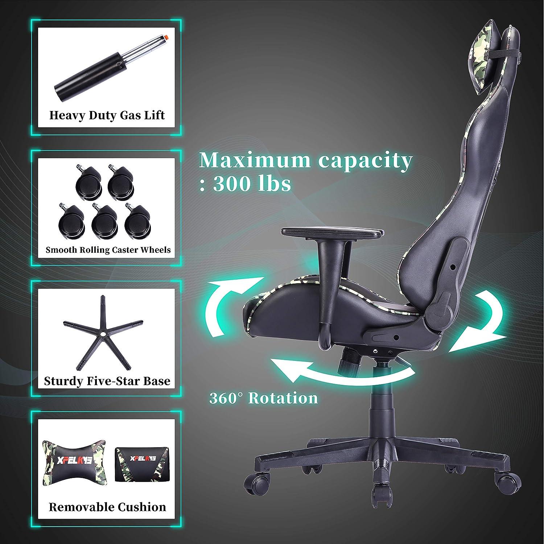 XPELKYS spelstol, racerstol, ergonomisk datorstol, kontorsstol, justerbart ryggstöd och höjd, huvud och ländrygg stöd. 300 Ibs (grön) Kamouflage