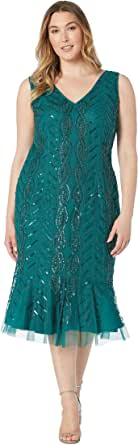 Adrianna Papell Women's Plus Size Mini Beaded Cocktail Dress with Flounced Hem